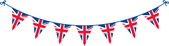 Bunting with Triangular Union Flags